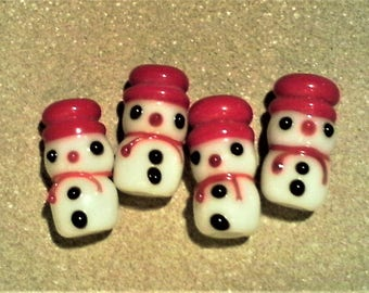 Snow man beads; cute, lampwork glass snow man, two tiered bead, approximately 20x10mm, 2-4pcs/2.40-4.80.