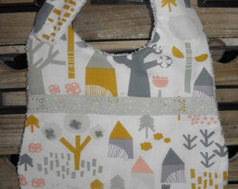 Bib fabric houses and trees, sponge for babies from birth to 12 months and up