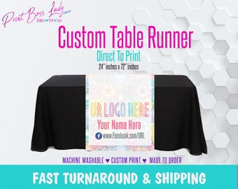 LLR Custom Multi Color Table Runner Full Color Add Your Logo | Fast Turn Around | LLR Fashion Consultant Table Runner | Next Day Shipping