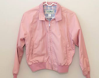 Vintage, L.L.Bean Women's Bomber Jacket, Members Only style Jacket, 70s or 80s Spring jacket in pink