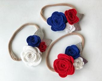 Patriotic flower trio headband