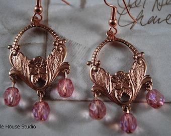 Rose Gold Earring, Crystal Earrings, Bridal Earrings, Rose Gold, Wedding Jewelry Swarovski Earrings, Gift for Her, Statement Earrings