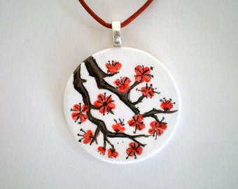 SALE- Plum Blossoms Pendant, Hand Painted wooden jewelry, art pendant, unique gift for her, summer fashion