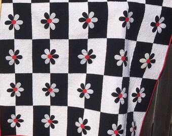 Modern black and white flower quilt