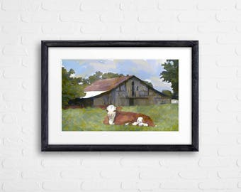 cow art gift Hereford calf bull cattle ranch farm painting pen&ink watercolor print