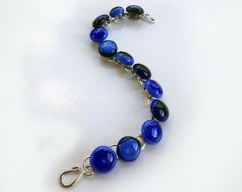 Blue fused glass bracelet