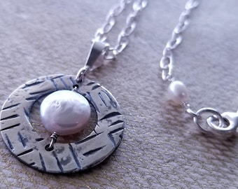 Coin Pearl Pendant Necklace Fine Silver Sterling Silver