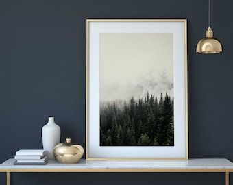 Forest Photography, Trees Wall Art, Forest Print, Foggy Print, Mountain Wall Art, Woodland print, Mountain printable, Digital, 18x24, 24x36