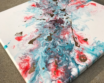 Abstract acrylic flow painting