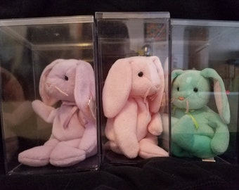 Retired collectible TY Beanie Bunnies Hippity, Hoppity, and Floppity