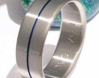 Thin Blue Line Titanium Ring - Law Enforcement Retirement Gift - Handcrafted Titanium Wedding Ring - b34