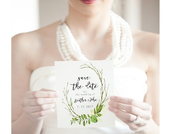 Greenery Save the Date Card, Watercolor Save the Dates, Greens Save the Date