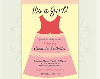 Girl Baby Shower Invitation, Feminine, Pink, Simple, Minimal, Dress, Grey, Yellow