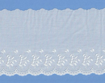 Scalloped Swiss Batiste Edging Embroidered With Flowers  - Heirloom Sewing Supplies - Doll Dress Supplies - 5 1/2 Inch Wide Edging