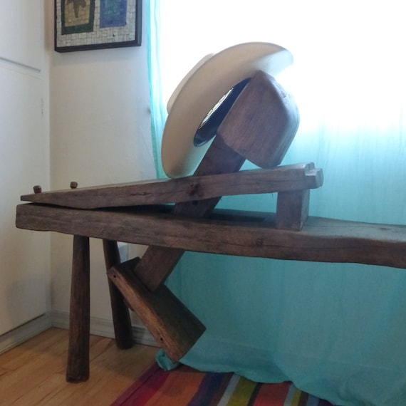 Primitive Wooden Oak Bench Antique Shaving Horse Schnitzelbank