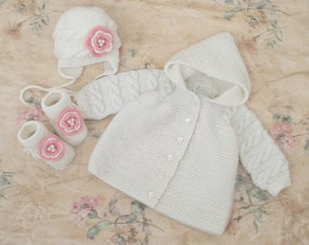 baby girl winter set, 3-6 Months, sweater with a hood, hat and booties, knit wool coat, baby wool sweater, baptism outfit, babyshower gift