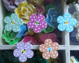 5 buttons flower 2 hole printed sew on buttons in wood, color-multicolored, 20 x 3 mm, hole: 1.5 mm