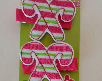 Candy Cane Felt Hair Clips