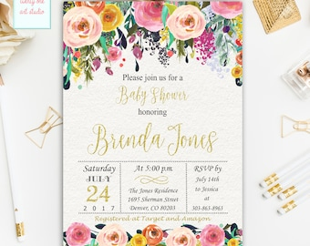 Floral Baby Shower Invitation, Floral Watercolor Invitations, Gold Glitter Blush Floral Baby Shower Invite, Digital File Printable Invites