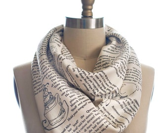 Alice in Wonderland Book Scarf - Infinity Scarf, Literary Scarf, Lewis Carroll , Book Lover, Books, Reading, Teacher Gift