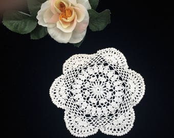 Crocheted Doily. Lace Doily. Small Round Crochet Doily. Vintage Cotton Lace Doily. Round Crocheted Doily. Round Off White Doily RBT2610
