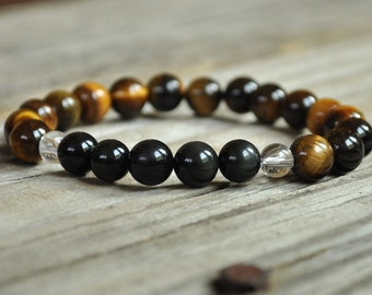 Men's Protection Mala, Obsidian, Tiger Eye, Chakra Bracelet, Yoga Bracelet, Crystal Healing Bracelet, Meditation Bracelet, Prayer Bracelet