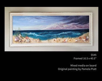 Framed, 3D Beach and Sand Dunes, original mixed media painting by artist Pamela Platt 16.5x40.5""