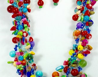 Rock Candy and JawBreakers Wire Crochet Necklace Set, Chunky Jewelry, Fashion Jewelry, Women's Accessories, One of A Kind, Multi Strand