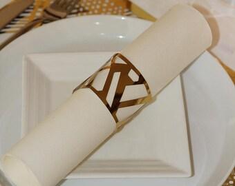 Gold Napkin Wraps, Wedding Napkin Wraps, Foil Chic Design - PACK OF 20
