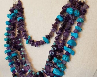 Assorted amethyst and blue turquoise multistrand necklace and earrings set, statement necklace, amethyst jewelry, turquoise necklace