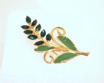 Vintage Green Rhinestone Brooch Flower Pin Enamel Leaf Brooch Floral Figural
