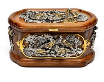 "Silver Jewel box ""Feathered"""