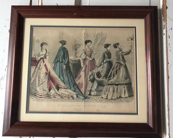 Antique 1868 Fashion Plate-Engraving