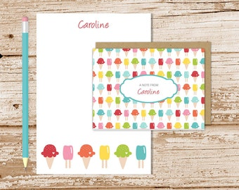 ice cream personalized stationery set . ice cream cone notepad + note card set . kids notecards note pad stationary set . girls gift set