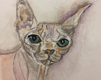 Naked Cat Matted Print