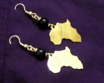 African Map Bronze Handmade Earrings