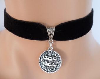 velvet choker, gemini choker, gemini necklace, stretch ribbon, black velvet, star sign, zodiac charm