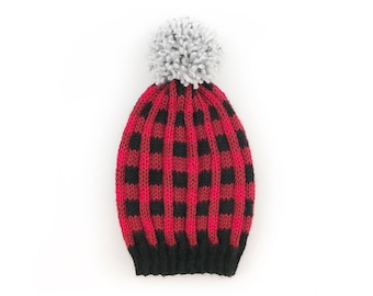 Red buffalo plaid hat, Knit plaid hat, Plaid hat, Slouchy winter hat, Knit slouchy hat, Flannel hat, Lumberjack hat