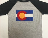 Boys Colorado Flag Baseball Tee - Grey Boys Baseball Te...