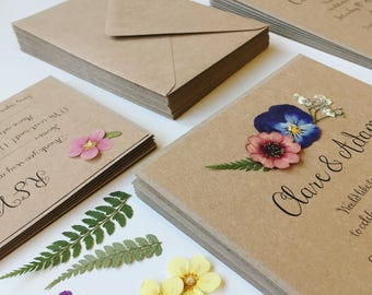 Floral Wedding Invitation. Rustic wedding invites with real pressed flowers on Ivory card or kraft card, summer wedding
