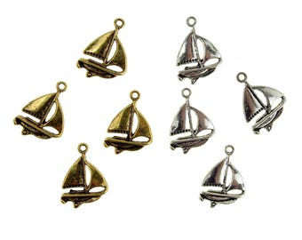 Metal Nautical Sailboat Charms, 5/8-Inch, 35-Count