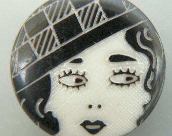 Black & White Flapper Face Button 20mm Plastic