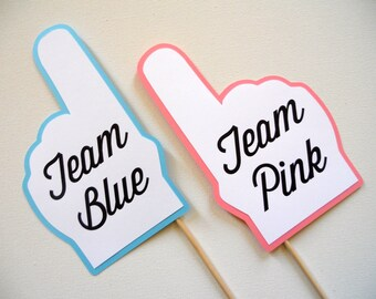 Team Blue and Team Pink Finger Photo Booth Props . Team Blue and Team Pink . Baby Shower . Gender Reveal . Blue and Pink . Set of 2