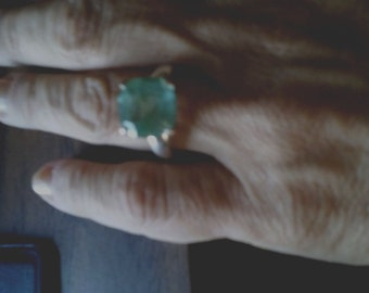Green quartz sterling silver ring solitaire