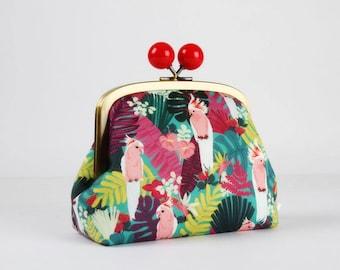 Metal frame clutch bag - Tropical parrots - Color bobble purse / Korean fabric / Tropical birds / Rainforest / Pink red green blue