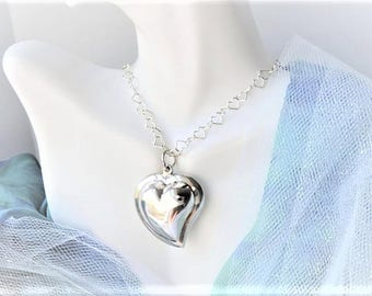 Heart Pendant Necklace Sterling Silver