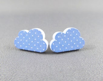 Stud Earrings Wooden - Spotty Cloud