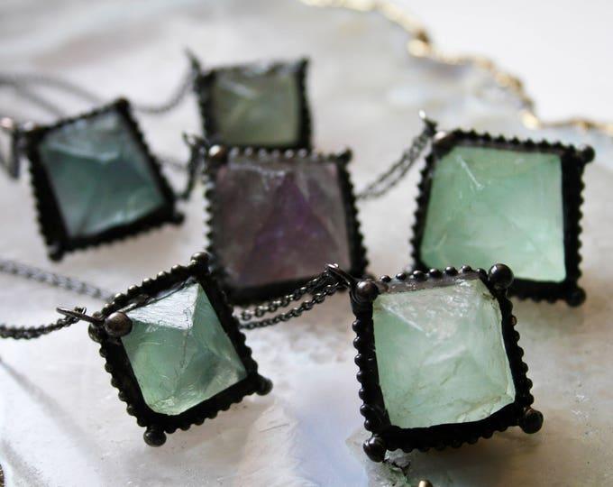 Fluorite Octahedron Necklace