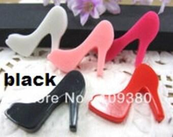 black high heels 2pc resin cabochon diy pumps shoes