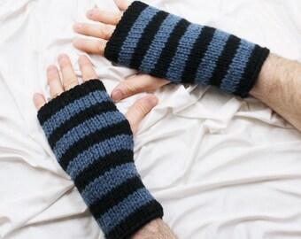 Fingerless Gloves - Men's Gloves - Blue and Black Gloves - Men's Wrist Warmers - Gloves for Men - Ready to ship